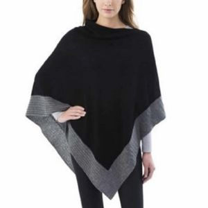 Celeste Poncho Wool and Cashmere Black and Grey